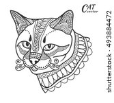 stylized sketch cat. hand drawn ... | Shutterstock .eps vector #493884472