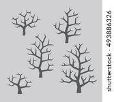 vector grey bare tree... | Shutterstock .eps vector #493886326