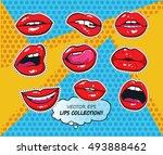 vector female lips set in...   Shutterstock . vector #493888462
