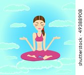 beautiful woman meditating and... | Shutterstock . vector #49388908