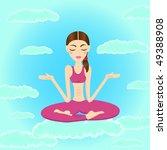 beautiful woman meditating and... | Shutterstock . vector #49388908