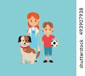 kids boy and girl with dog... | Shutterstock .eps vector #493907938