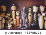 collection of japanese wooden... | Shutterstock . vector #493908136