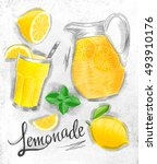 lemonade elements glass  lemon  ... | Shutterstock .eps vector #493910176