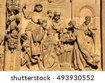 Small photo of SALAMANCA, SPAIN - AUGUST 2, 2016: Carving of the Adoration by the Three Kings at the facade of the New Cathedral of Salamanca, Spain