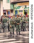 Small photo of Banos De Agua Santa, Ecuador - 23 June 2016: Force Ground Welcoming To The President Of The Ecuador Rafael Correa Delgado In Banos De Agua Santa, Ecuador, South America