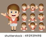cute set   set of businesspeople | Shutterstock .eps vector #493939498