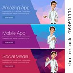 vector header banners with... | Shutterstock .eps vector #493941115