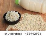 soymilk and barley seed   Shutterstock . vector #493942936