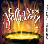 vector halloween poster with... | Shutterstock .eps vector #493954612