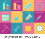 contraception methods cartoon... | Shutterstock .eps vector #493963042