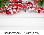 christmas gifts and balls on... | Shutterstock . vector #493985242
