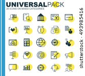 set of 25 universal icons on... | Shutterstock .eps vector #493985416