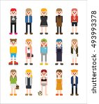variety girl character about...   Shutterstock .eps vector #493993378