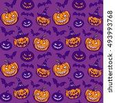 halloween seamless pattern.... | Shutterstock .eps vector #493993768