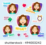collection of stickers for chat ... | Shutterstock .eps vector #494003242