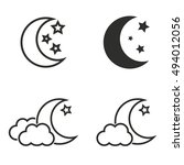 moon star vector icons set.... | Shutterstock .eps vector #494012056