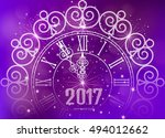happy new year 2017 gold watch... | Shutterstock .eps vector #494012662
