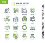 color flat line icons set of... | Shutterstock .eps vector #494015236