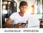 indian teenager using... | Shutterstock . vector #494018236