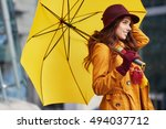 woman in autumn city | Shutterstock . vector #494037712