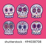 set of illustrations with... | Shutterstock .eps vector #494038708