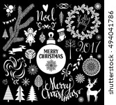 christmas  new year hand drawn... | Shutterstock .eps vector #494041786