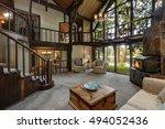 modern wooden cottage house... | Shutterstock . vector #494052436
