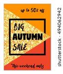 cute autumn seasonal sale flyer ... | Shutterstock . vector #494062942