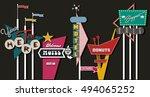 classic american signboards set ... | Shutterstock .eps vector #494065252