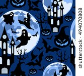 halloween background.seamless... | Shutterstock .eps vector #494070808