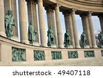 Hero`s Square - Statues of Hungarian kings - Bugapest, Hungary - stock photo