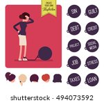 businesswoman chained with a... | Shutterstock .eps vector #494073592