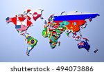 the world map with all states... | Shutterstock . vector #494073886