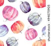 pumpkins watercolor pattern   Shutterstock . vector #494075905