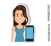 avatar woman and smartphone | Shutterstock .eps vector #494081542