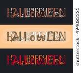 happy halloween text banner... | Shutterstock .eps vector #494082235