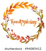 thanksgiving watercolor... | Shutterstock . vector #494085412