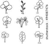 hand draw tree set different