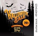 halloween sale. vector... | Shutterstock .eps vector #494093425