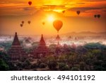 hot air balloon over plain of... | Shutterstock . vector #494101192