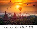 hot air balloon over plain of... | Shutterstock . vector #494101192