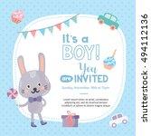 it's a boy  invitation card... | Shutterstock .eps vector #494112136