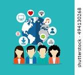socia media related icons image  | Shutterstock .eps vector #494130268