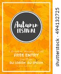 fall festival template. bright... | Shutterstock .eps vector #494132725