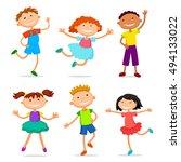 collection of happy children in ... | Shutterstock .eps vector #494133022
