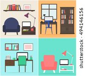 home office apartment set.... | Shutterstock .eps vector #494146156