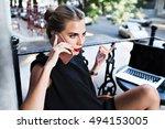 closeup portrait attractive... | Shutterstock . vector #494153005