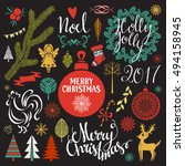 christmas  new year hand drawn... | Shutterstock .eps vector #494158945