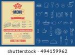 restaurant fast foods menu on... | Shutterstock .eps vector #494159962